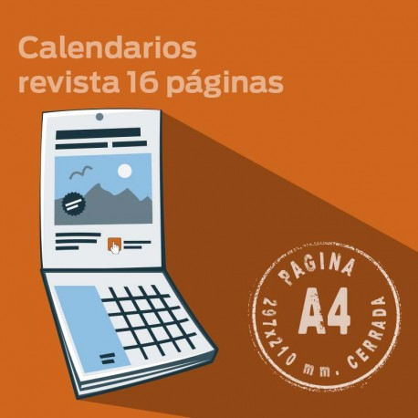 Calendario de pared 2016. Personalizado de tipo revista